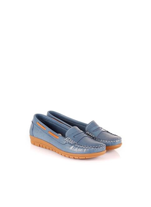 G.Ö.N. Hakiki Deri Ayakkabı Mavi
